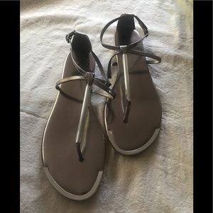 Silver Sandals with Silver Metal Accents